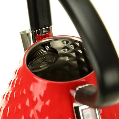 """KS-1011E - """"Fortune Candy"""" Чайник электрический 1,7л, h26,5см, корпус из нержавеющей стали, эмаль матовая - цвет красный, подошва пластмассовая """"Marado"""", в коробке (Китай)"""