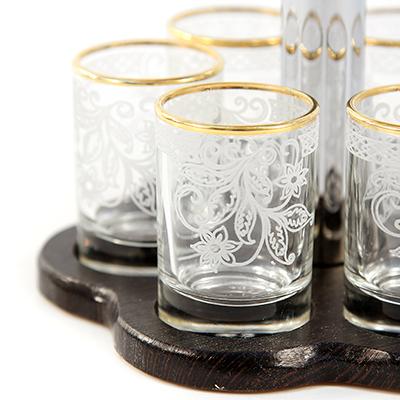 """""""Акация"""" Набор подарочный стеклянный 12 предметов: бокал 290мл, h16см - 6шт, стопка 60мл, h6,8см - 6шт, с барной стойкой, гравировка, отводка золотом, цветная коробка (Россия)"""