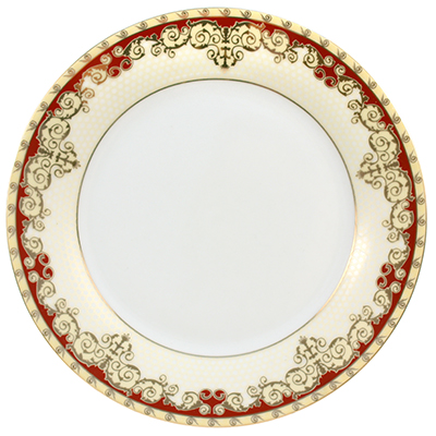 """497-7 - Тарелка мелкая фарфоровая """"Рубиновая лента"""" д180мм (Китай) Цена указана за штуку. В подарочной коробке 6 штук."""