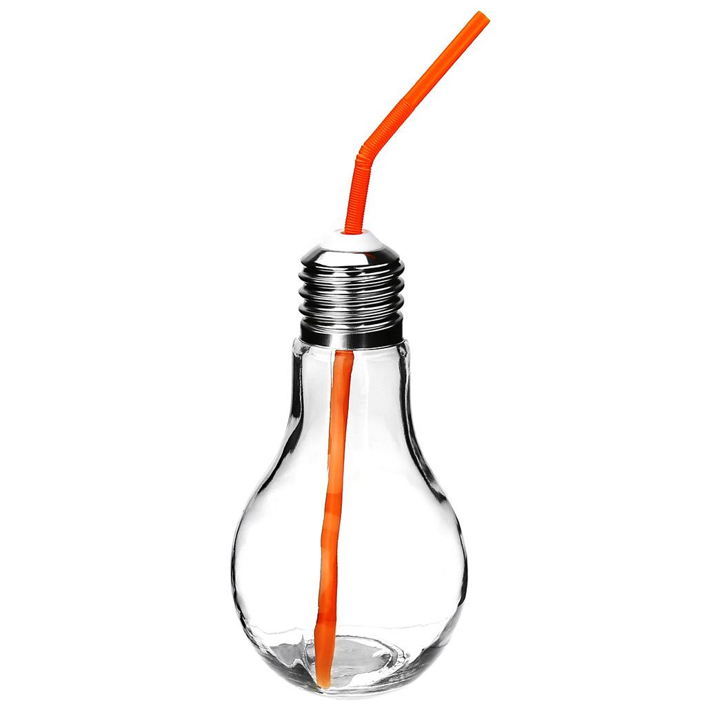 """н/с - Бутылка стеклянная """"Лампочка"""" 0,9л, h22см, д/горла 2,5см, БЕЗ трубочки, винтовая металлическая крышка с отверстием для трубочки (д/основания 5,5см) (Китай) без трубочки. Товар обмену и возврату не подлежит."""