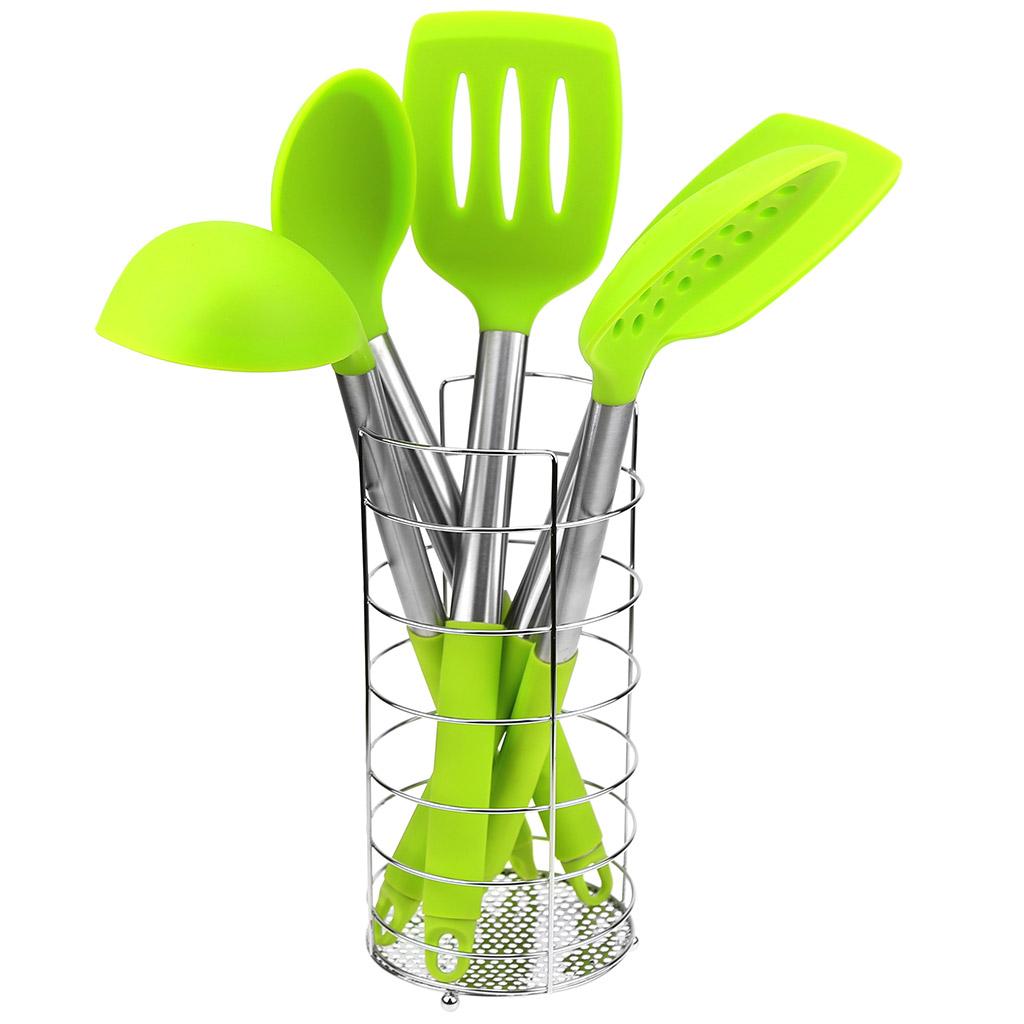САК-LВ290А - Кухонный набор для тефлоновой посуды силиконовый с ручками из нержавеющей стали с силиконовыми накладками 6 предметов: подставка хром д10см h21см, ложка гарнирная 33см, половник 100мл 29см, шумовка 34,5см, лопатка 34,5см, лопатка с прорезями 34,5см,