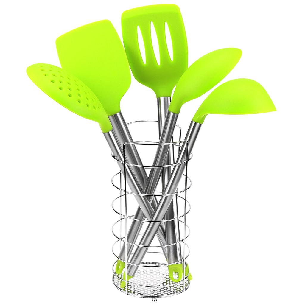САК-LВ288А - Кухонный набор для тефлоновой посуды силиконовый с ручками из нержавеющей стали 6 предметов: подставка хром д10см h21см, ложка гарнирная 33см, половник 100мл 29см, шумовка 34,5см, лопатка 34,5см, лопатка с прорезями 34,5см, салатовый, в ПВХ тубе на м