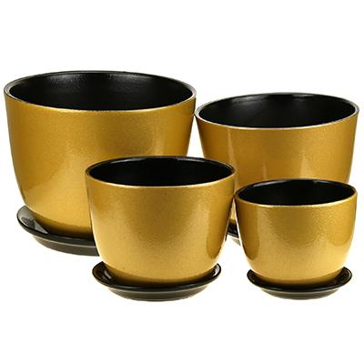 """ГЛ517 - Горшок для цветов керамический """"Глянец"""", набор 4 штуки: 0,8л - д13см, h10,5см, 1,5л - д16см, h12,5см, 2,7л - д19см, h15,5см, 4,8л - д22см, h18см, форма милан, золотой, ручная работа (Россия)"""