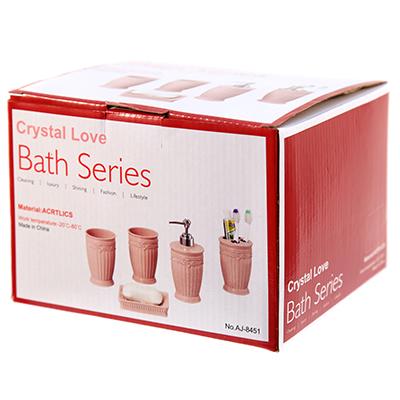"""8453 - Набор для ванной """"Цветы"""" 5 предметов: дозатор для мыла 300мл д7,7см h17,7см; мыльница 12,2х8,2х4см; стакан для зубных щеток д8см h11,5см; стакан 300мл д8см h11см -2 штуки, акрил, оливковый, в подарочной коробке (Китай) выдерживает t от -20С до 80С"""