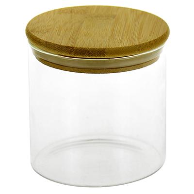 """1010-ТВВ - Банка стеклянная прижимная крышка """"Натурель"""" 0,7л, д10см h10,5см, бамбуковая крышка с уплотнителем, в коробке (Китай)"""