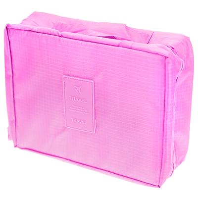 """- Органайзер дорожный (сумка) """"Аэропорт-2"""" 21х16х8см, нейлон, на молнии, 1 отделение, с ручкой, розовый (Китай)"""