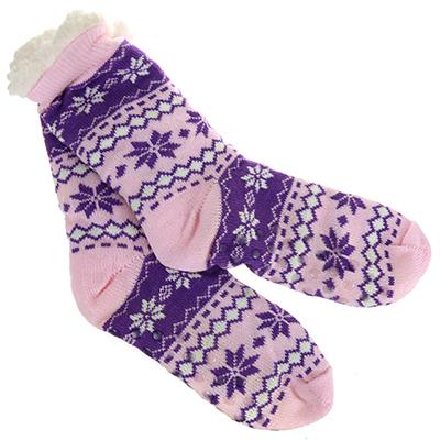 """- Носки вязаные """"Якутия"""" 11х23х20см, с искусственным мехом, антискольщящие наклейки, розово-сиреневый (Китай)"""