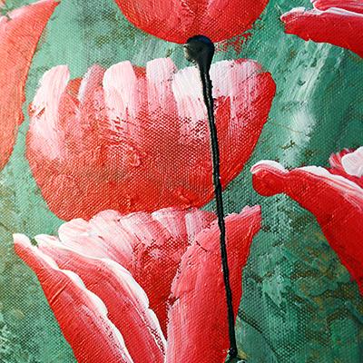 """053F - Картина 30х40см """"маслом"""" """"Красные тюльпаны"""""""