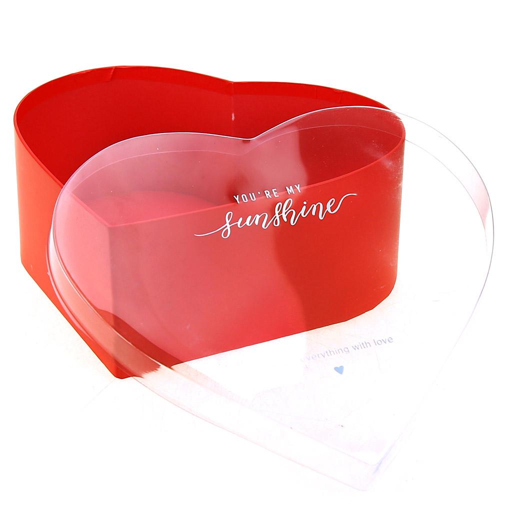 "W7799 - Коробка подарочная, набор 3 штуки: 18,4х16,1х7см; 20,7х18,4х8см; 23х20,7х9см ""Сердце"" красный, крышка прозрачная ПВХ (Китай)"