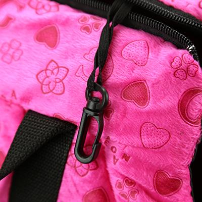 Сумка-переноска для кошек и собак набор 2шт: 42х25х27,5см, 35х20х22,5см, ткань х/б, синтепон, сердечки, фуксия (Китай)