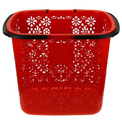 """1728 - Корзина пластмассовая """"Цезарь"""" 38л, 42х31,5см h36см, с ручками, красный (Китай)"""