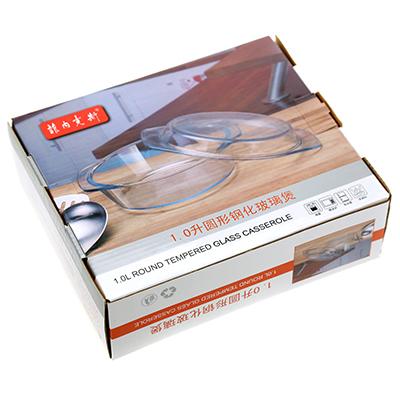 Кастрюля стеклянная 1л, 21,8х18,8см h8,8см, с крышкой, термостекло, в цветной коробке (Китай)